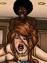 Jenny moaned as the thick cucumber entered her - Lust for the librarian by Illustrated interracial